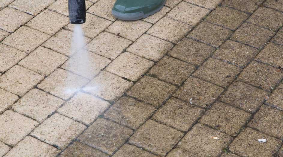 Stone and concrete pressure washing